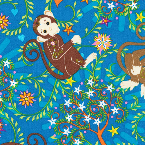Fabri-Quilt - Mystic Forest FLANNEL-Allover Monkeys - 140-26001