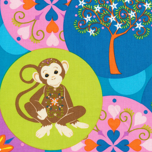 Fabri-Quilt - Mystic Forest FLANNEL-Monkey Circles - 140-26021