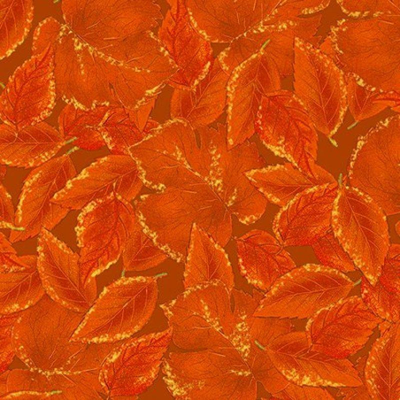 QT - Harvest Medley-Metallic Leaves/Pumpkin - 22647-O