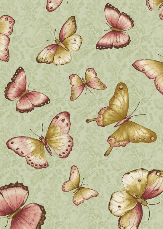 Blank Quilting - Simple Pleasures-Tossed Butterfly/Green - 8163-60