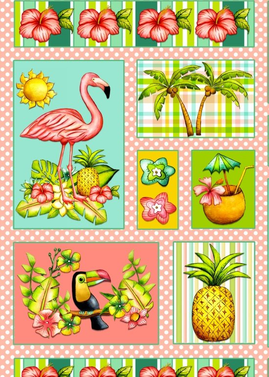 Blank Quilting - Pink Lady Flamingo - Panel - 8491-22 - 15N