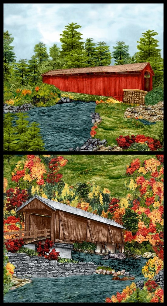 Blank Quilting - Covered Bridges-Scenic Panel-2 Block - 8995P-66 - N25