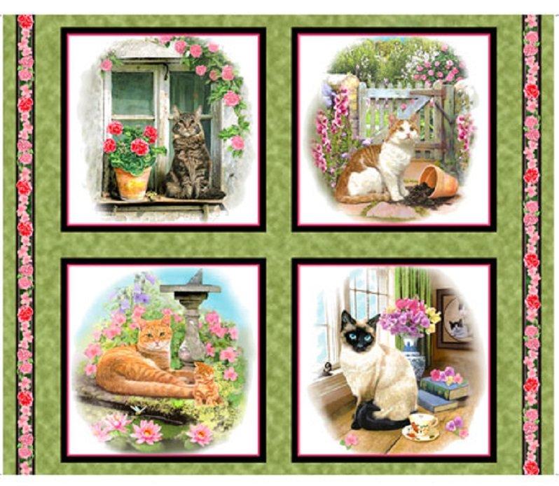 QT - Fancy Felines - CATS Pillow Panel/Green - 27035-G  - A-9
