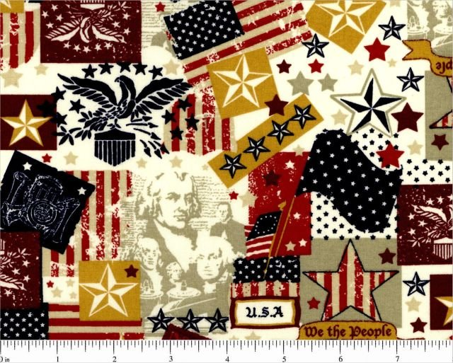 Choice Fabrics - Patriotic Collage/Cream - 48484-A03