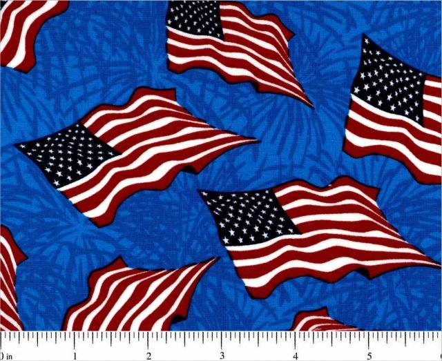 Choice Fabrics - Patriotic Flags - 49027-A03