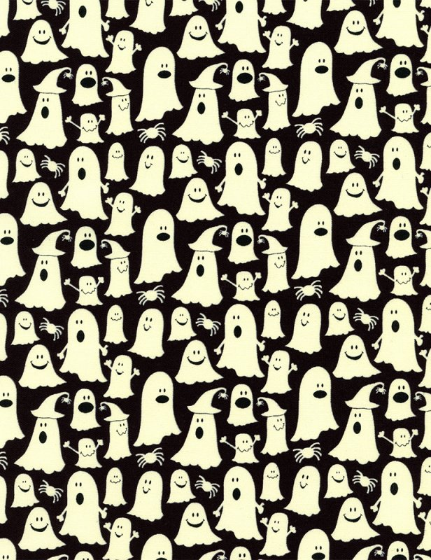Timeless Treasures - Glow-Ghosts Boo - CG2371-Black - SALE