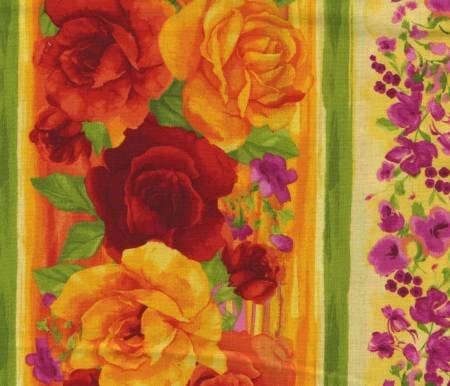 Timeless Treasures - Rosa-Yellow Floral Border Print - C4376-YLW