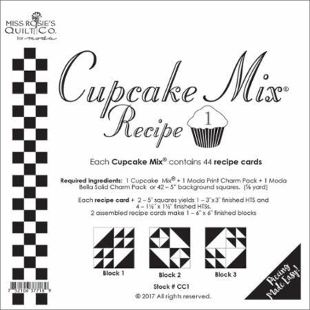 Cupcake Recipe #1 - Miss Rosie's Quilt Company/44 Recipe cards - CC1