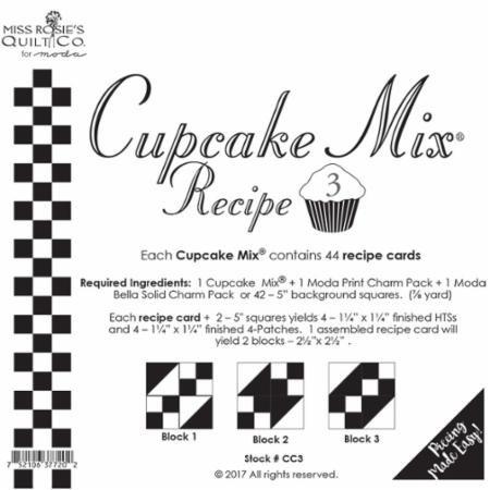 Cupcake Recipe #3 - Miss Rosie's Quilt Company/44 Recipe cards - CC3