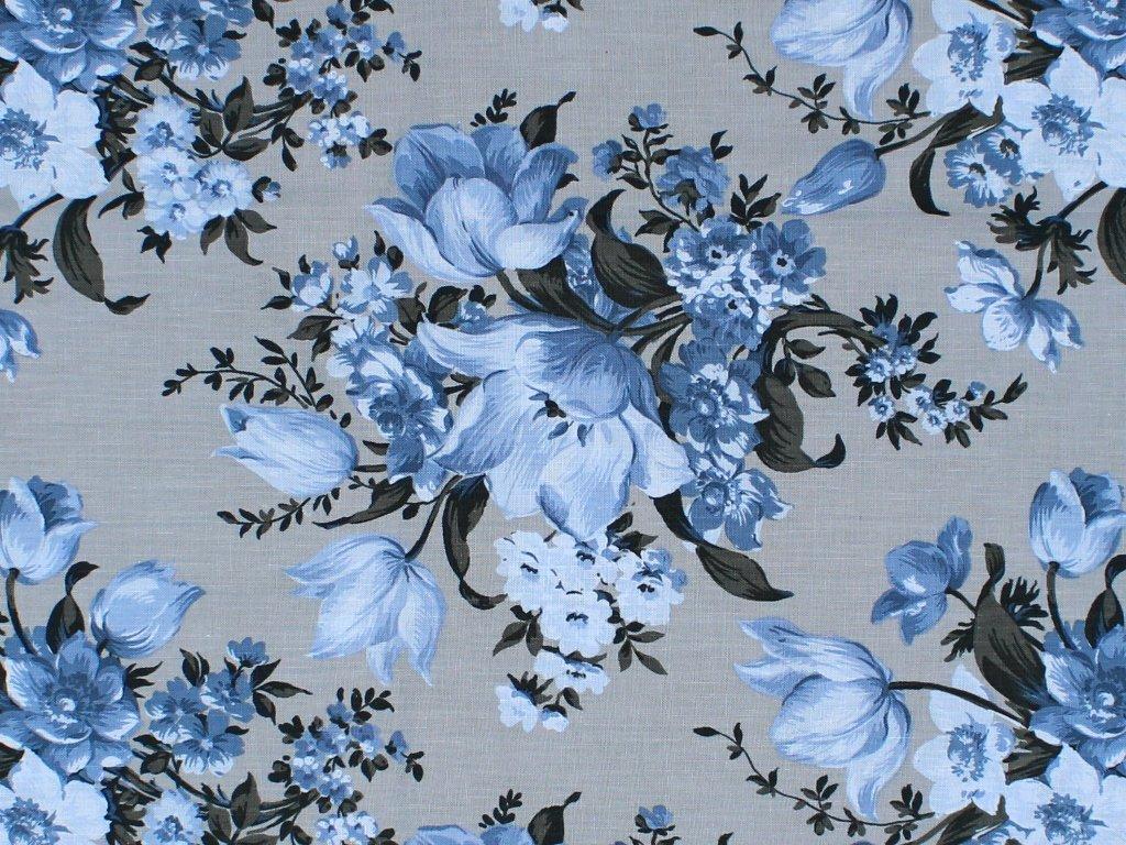 Choice Fabrics - Elegant Blooms-Large Floral/Blue/Grey - CD-11000-003