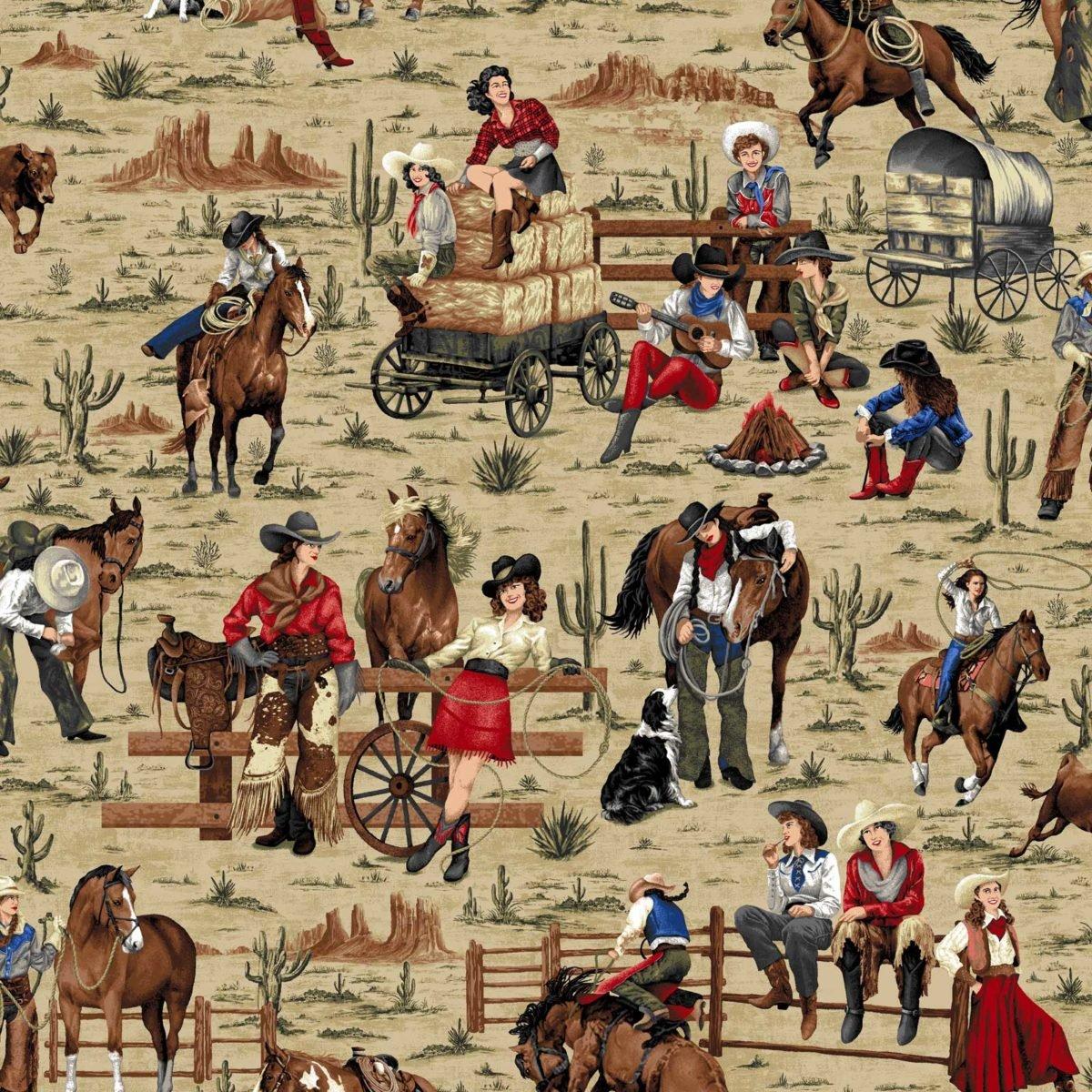Oasis - Cowgirl Spirit - AllOver Scenic/Tan - 5935701