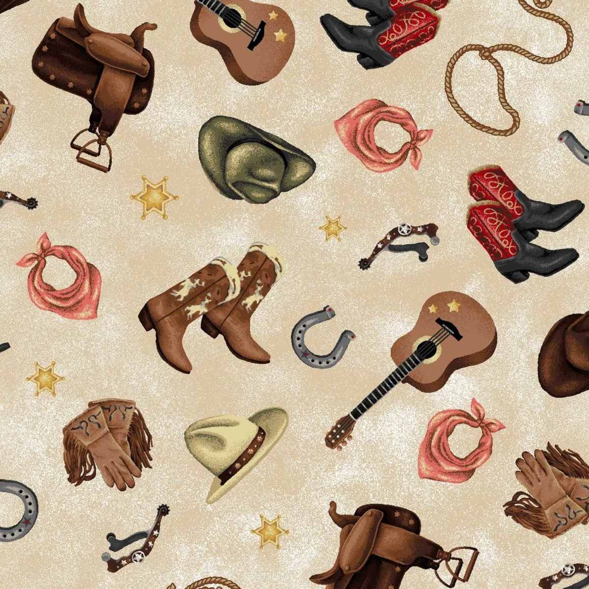 Oasis - Cowgirl Spirit - Guitars-Boots-Hats/Beige - 5935901
