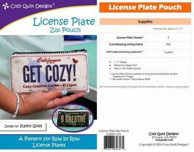 License Plate Zip Pouch - Cozy Quilt Designs - CQD01165