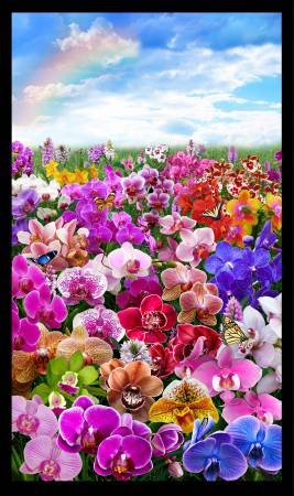 Elizabeth's Studio - Digital Gardens-Panel/Orchids/Blk - DP514 - N-23