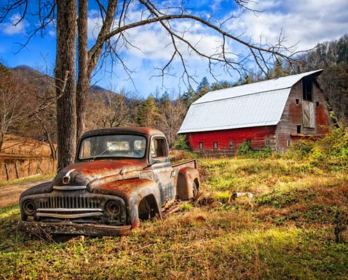 David Textiles - Homestead Farm-DIGITAL-Barn & The Truck PANEL - AL-3478-7C - (W-21)