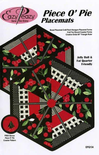 Placemats & Bonus Coaster Pattern-Piece O Pie - EPQ134