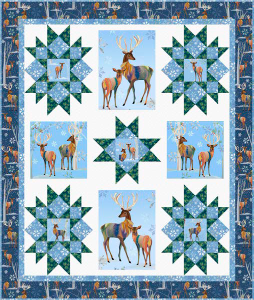 First Frost Deer Quilt KIT - Winter Stars by Pine Tree County Quilts