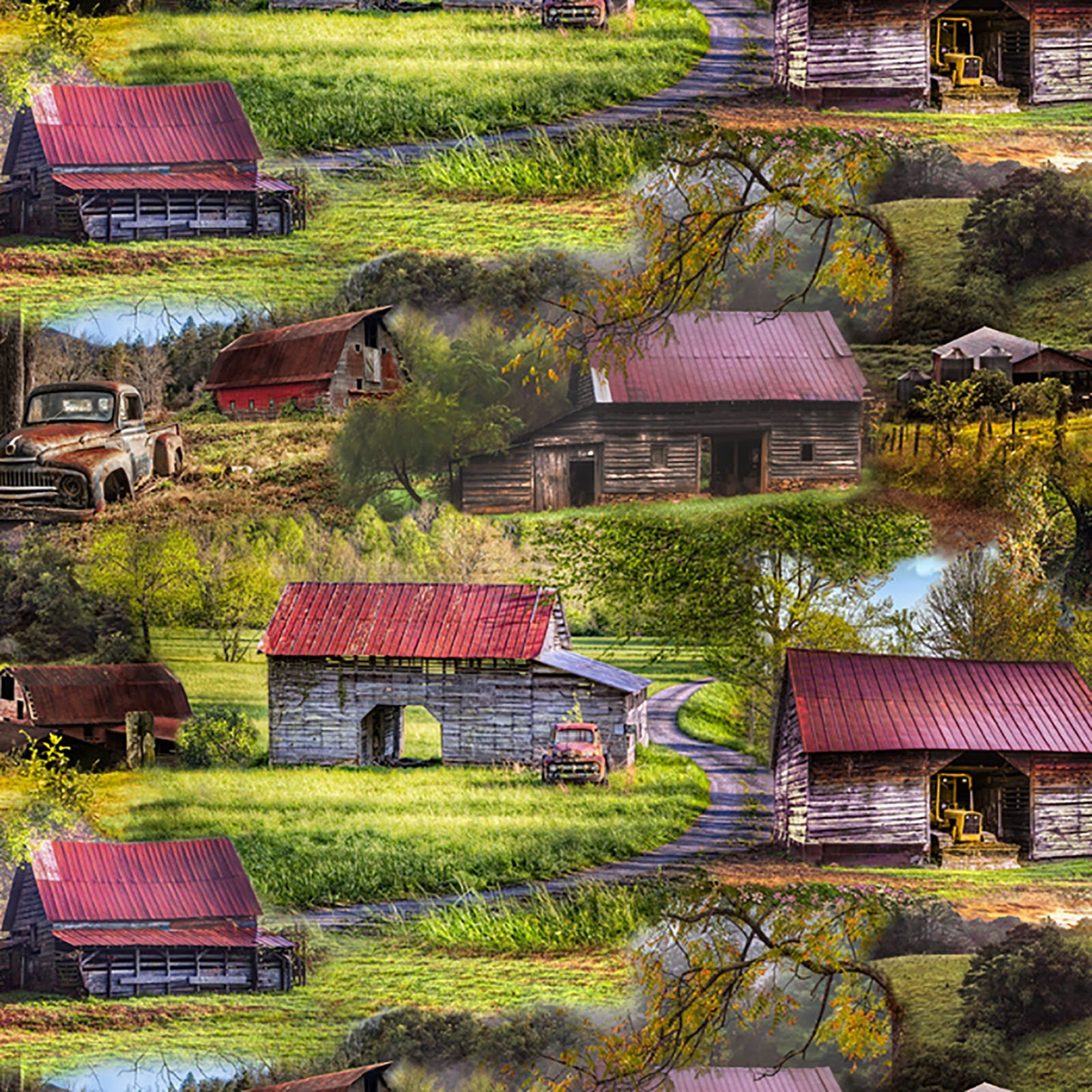 David Textiles - Country Animals-DIGITAL-Barns & Tractors - 3399-7C-1