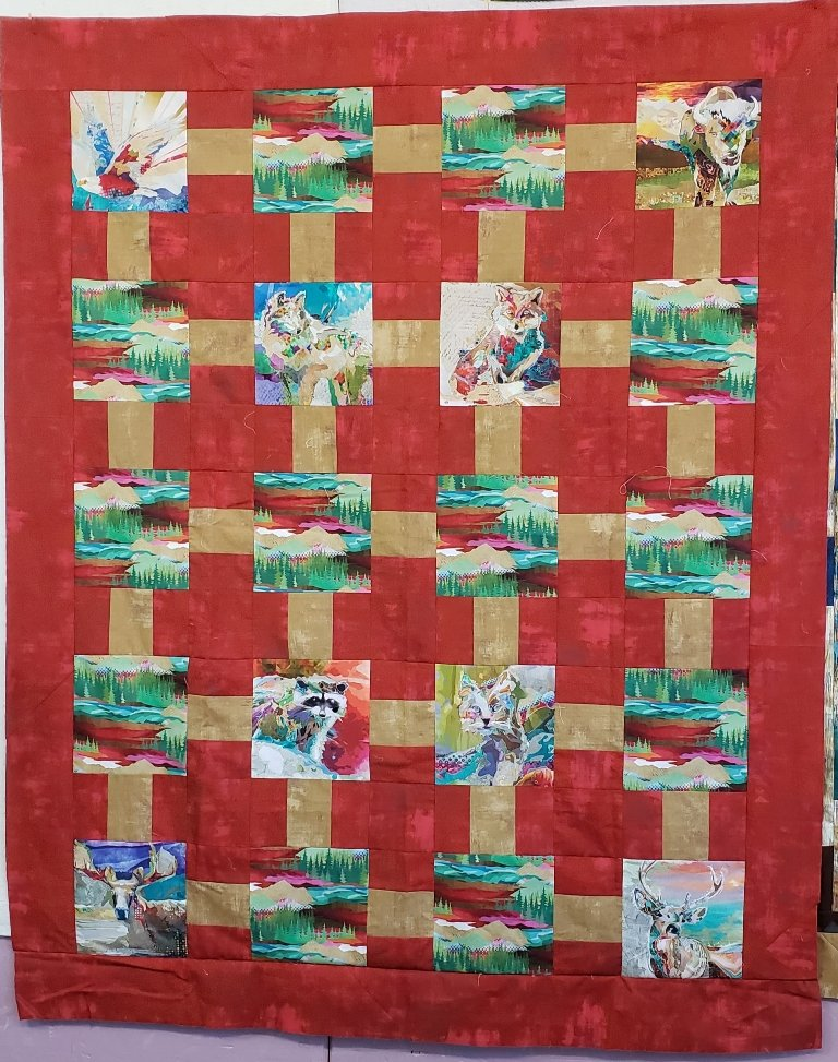 Gridwork - The Great Outdoors Quilt Kit - Villa Rosa - 55 x 67 - Yardage