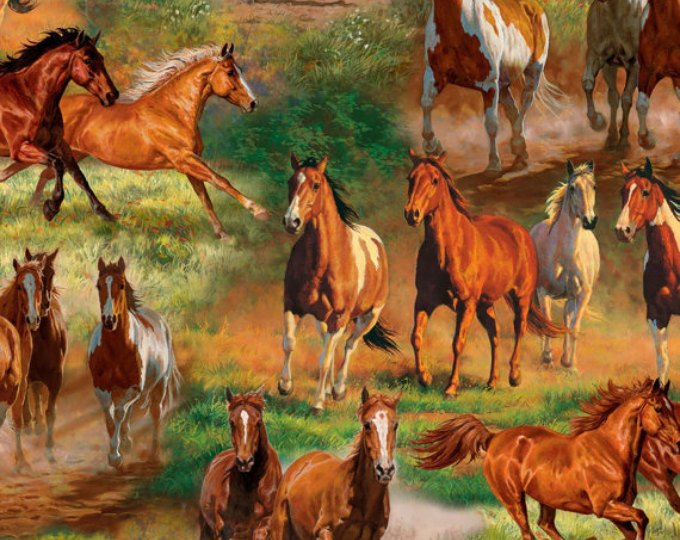 David Textiles - Animal Reign-DIGITAL-Horses In The Meadow Scenic - 3065-6C-1