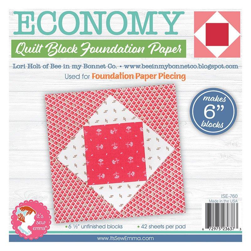 Economy Quilt Block 6 Foundation Paper Pad - It's Sew Emma - ISE -760