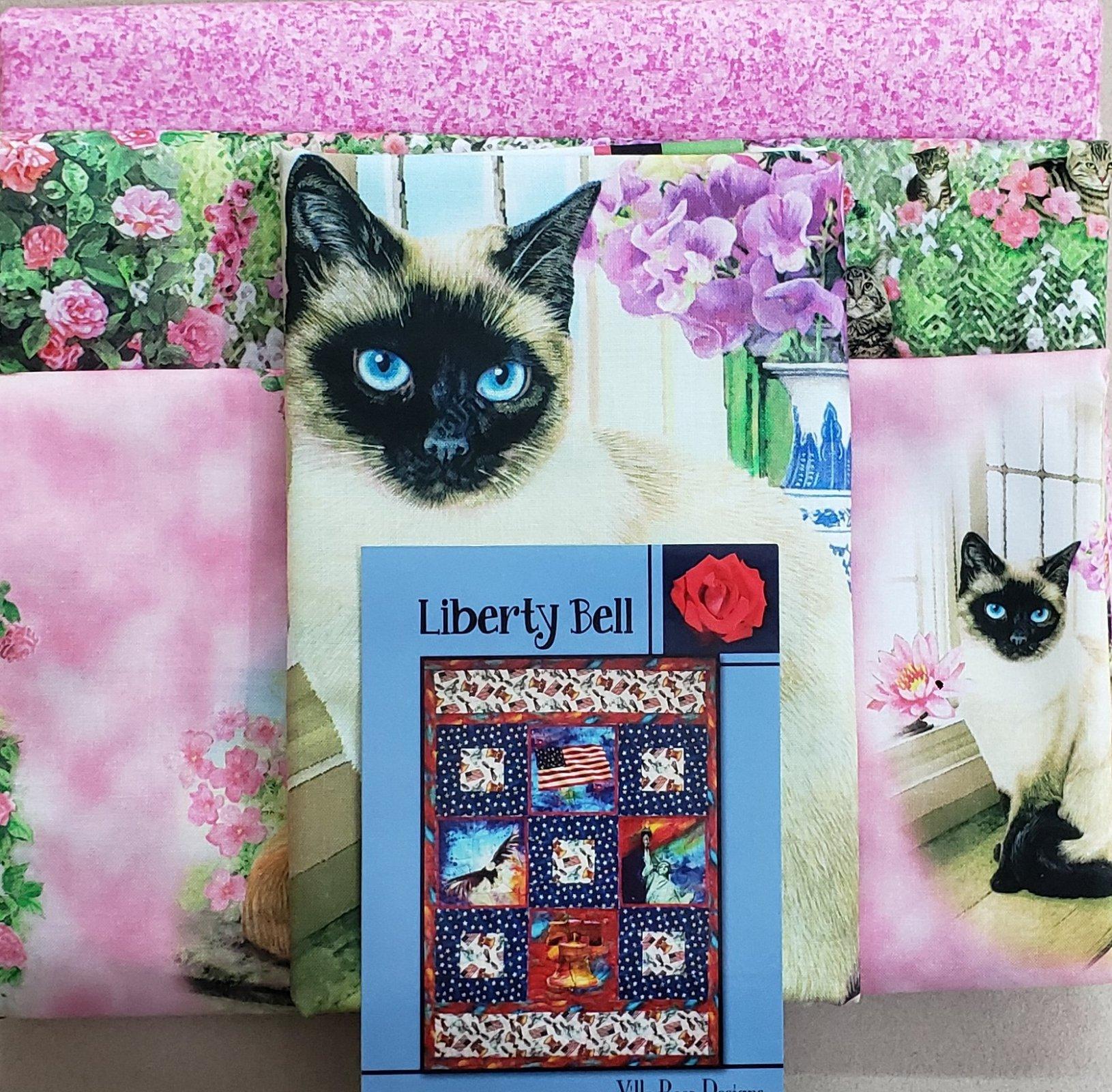 Liberty Bell-Villa Rosa QUILT KIT - QT-Fancy Felines/Pink - 54 x 73