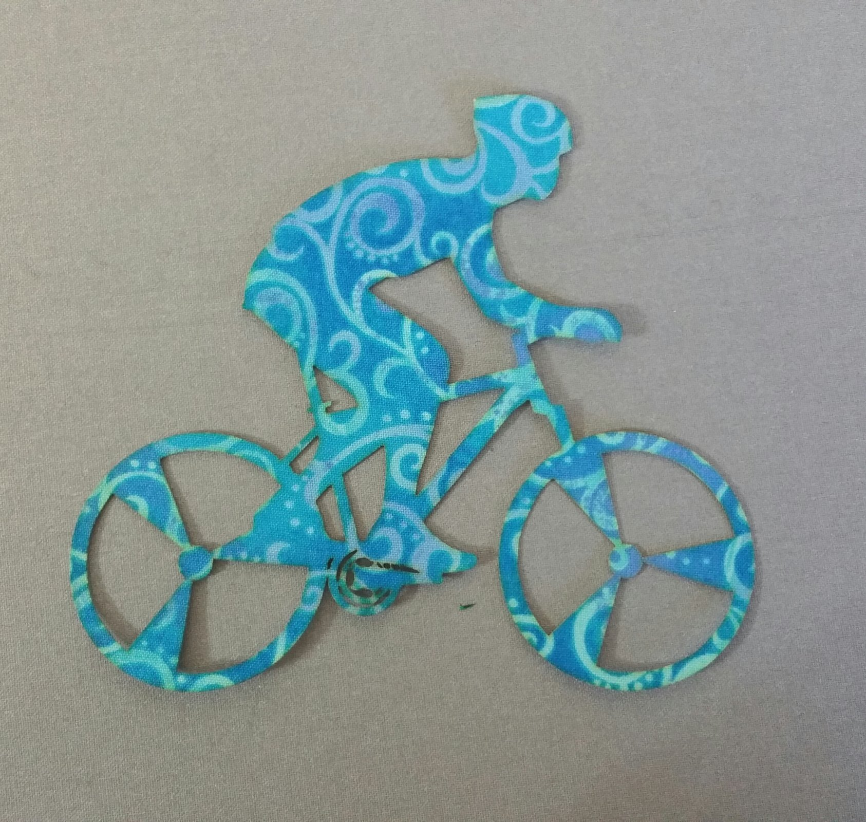 Bicyclist - Laser Cut - Blue/Green/Blue - Red Rooster
