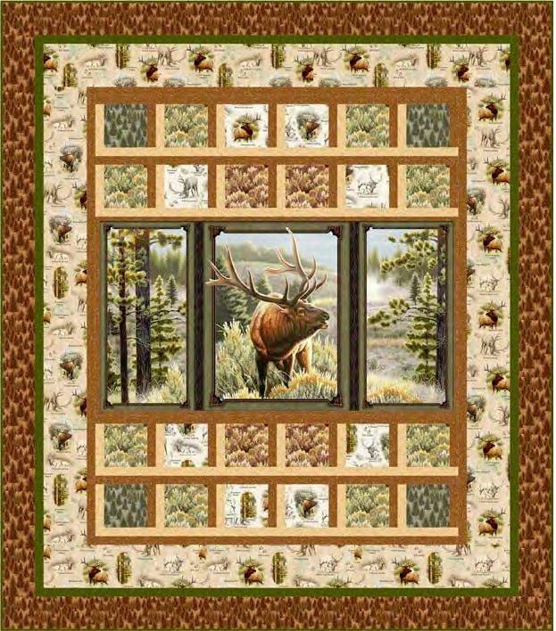 Mountain Elk Quilt KIT - QT Fabrics - 64 x 73
