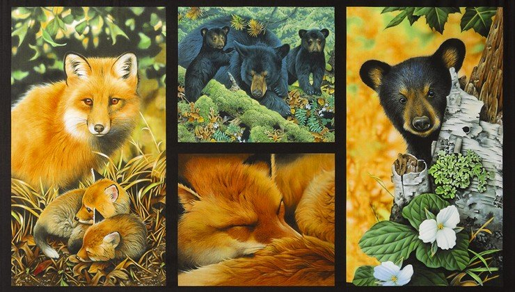 Robert Kaufman - North American Wildlife JQ - 5 Block-Panel/Bear-Fox Family-DIGITAL - 18459-268 - A-6