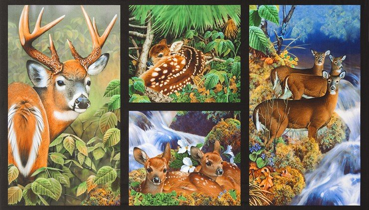 Robert Kaufman - North American Wildlife JQ - 5 Block-Panel/Deer Family-DIGITAL - 18460-268 - A-7