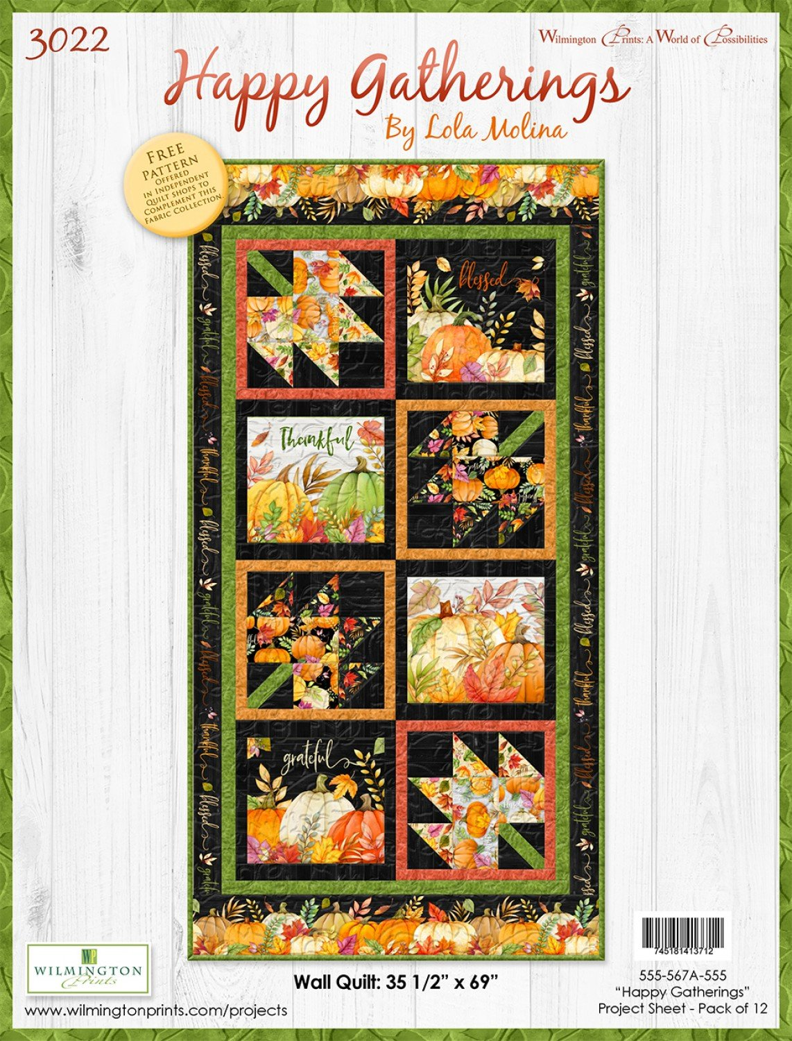 Happy Gatherings Wall Quilt KIT - 36 x 69