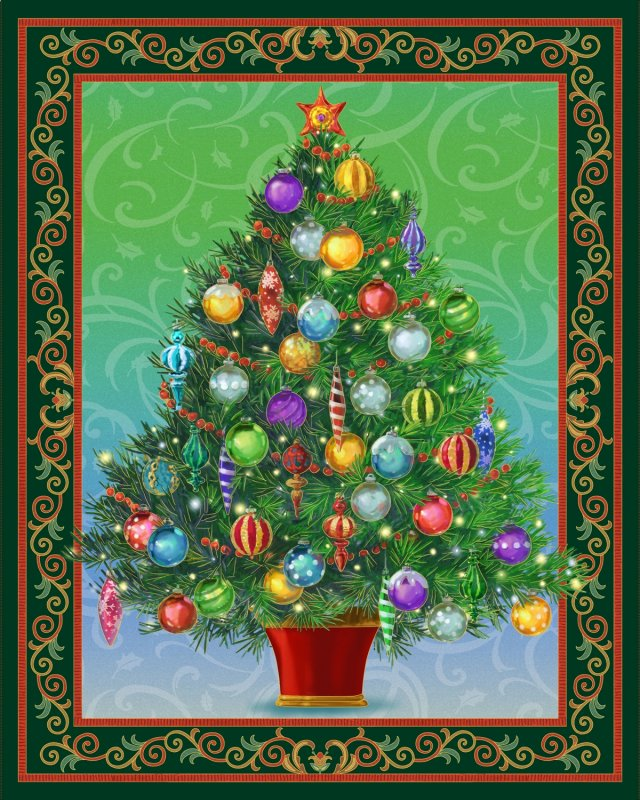 quilting treasures christmas tree panel lighted project sheet