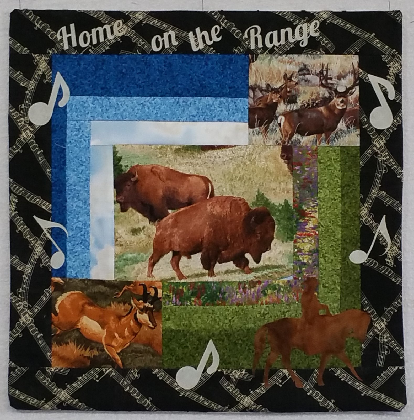 2018 Row by Row 2018 - 18 x 18 Block - Home on the Range - KIT Black