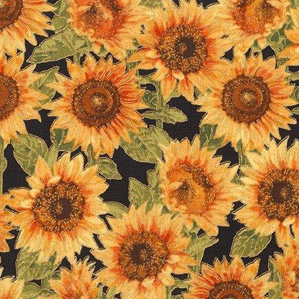 Robert Kaufman - Shades of the Season 11 - Sunflowers/BLK - 17452-2