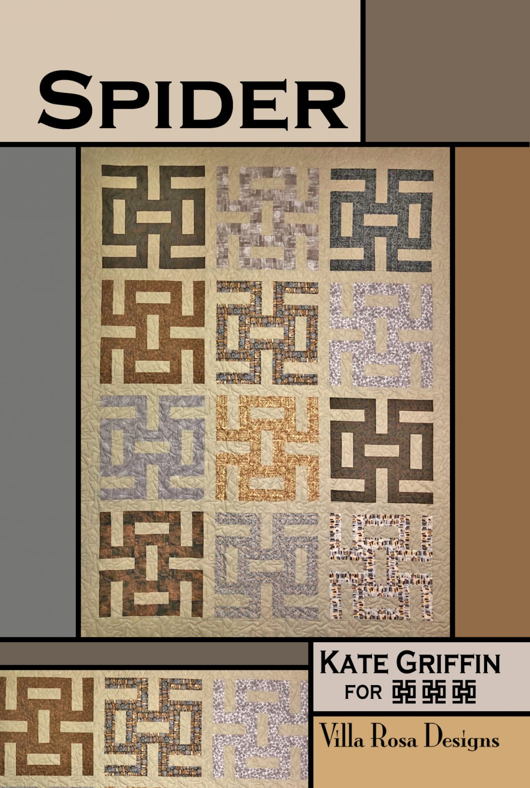 Spider-Villa Rosa - QUILT KIT - Fushions Metallic/Maywood - 66 x 86