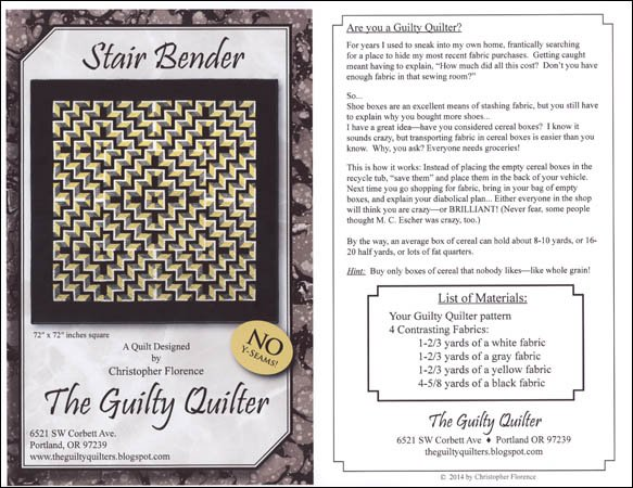 Stair Bender The Guilty Quilter GQU40 40 New Labyrinth Walk Quilt Pattern Free