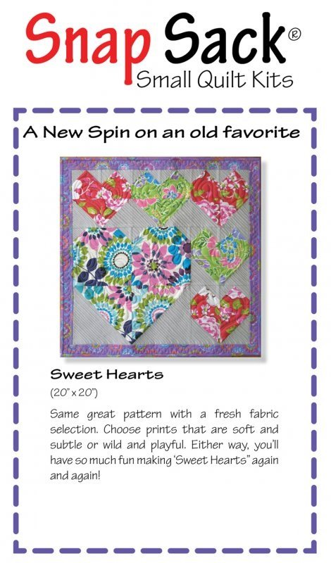 Sweet Hearts - Snap Sack Small Quilt Kit - (Flutter) - SS-0902-12