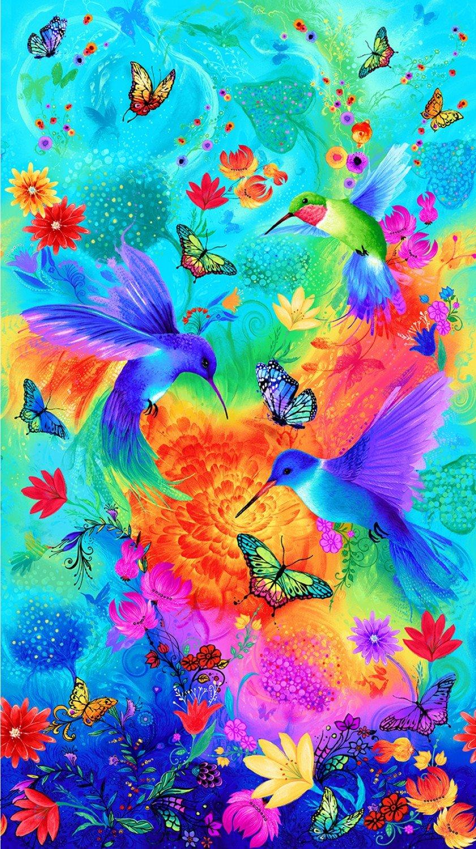 Timeless Treasures - Hummingbird Whirlwind Panel/Aqua - CD8701