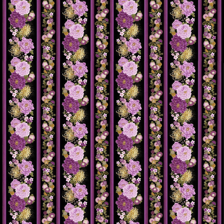 Timeless Treasures - Majestic-Japanese Purple Floral Border Print - CM8809-Black