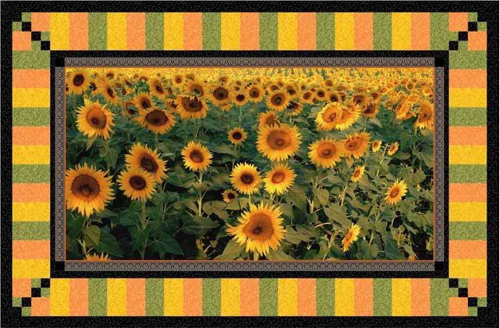 Tuscan Sunflowers Wall Hanging KIT - QT Fabrics - 53 x 35