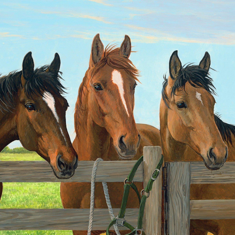 David Textiles - Little Farm-3 Horses - DIGITAL Panel -  WW-0005-7C-1Multi - (W-24)