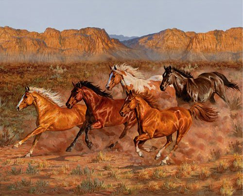 David Textiles - Heartland-Southwest Horses DIGITAL Panel -  WW-9019-7C-1Multi - (W-25)