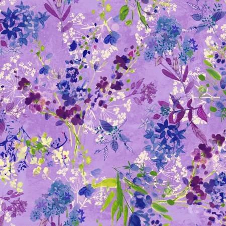 Clothworks -  Marcella -Large Floral/Purple- Y2124-27