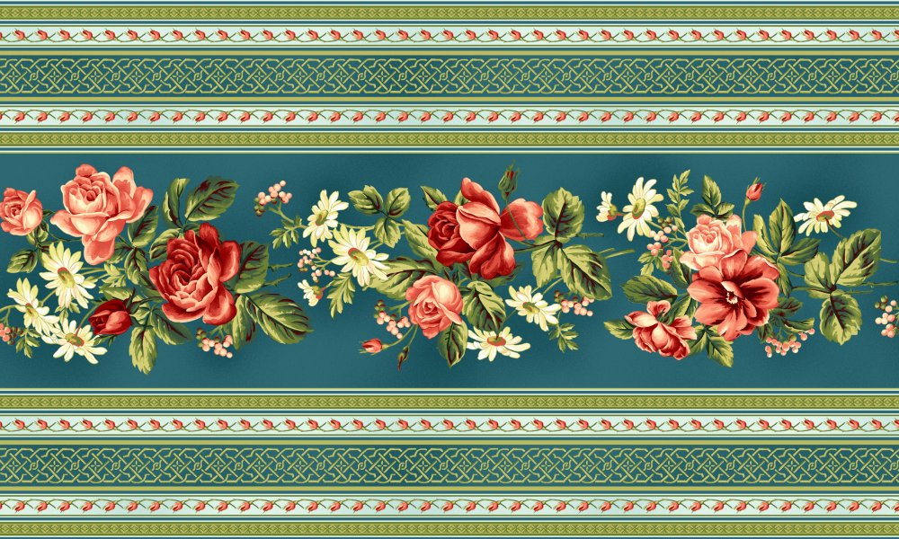Secret Garden Border Stripe With Floral Roses On Dark Blue Background