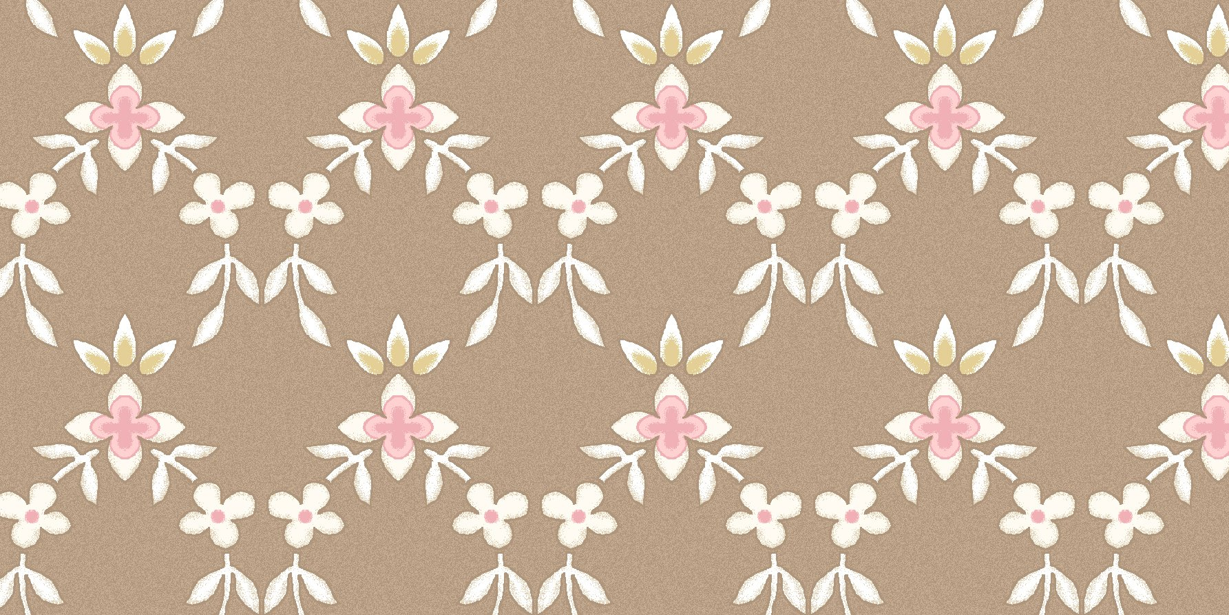 Graceful Moments Small Floral Lattice on Taupe Background