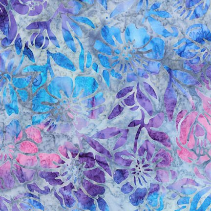 Remnant - 1 yd -  Kaufman Artisan Batiks Anemone - Floral on Gray - AMD-16795-61 Periwinkle