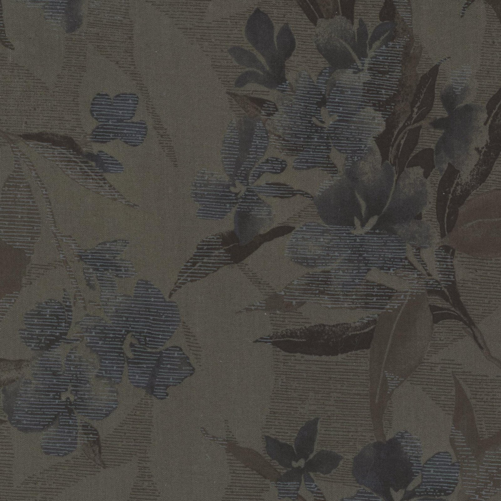 Remnant - 1 yard cut - Daiwabo Taupe with Navy Flowers