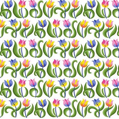 Jane Sassaman Spring Fever Tulips Rainbow - PWJS099.RAINB