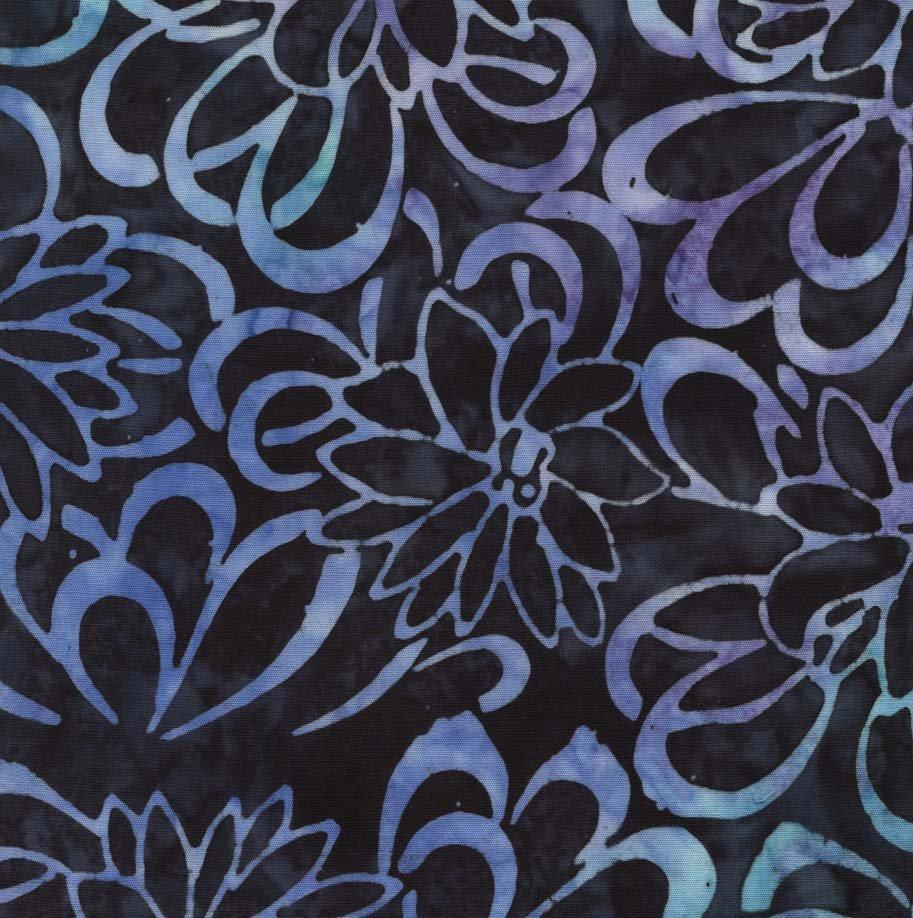 Remnant - 1/2 yd - Timeless Batik - Blue and Purple Flowers on Black