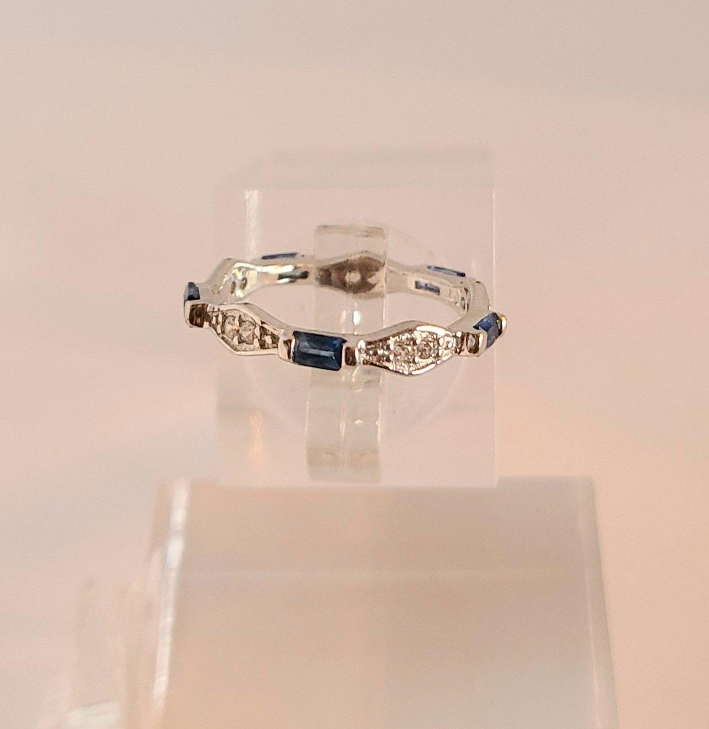 Blue Sapphire & CZ Toe Ring